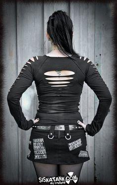 Goth Zombie SHIRT Post Apocalyptic Black Longsleeves by siskatank