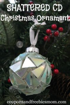Homemade Shattered CD Christmas Ornament! Perfect DIY gift or project for your old CD's!