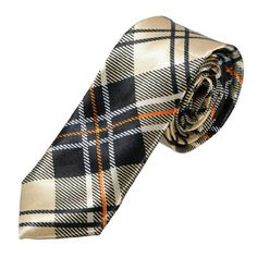 Men:s Skinny Tie Gold, Black, and Orange Skinny Tie, Men's Tie, Silk Tie Other