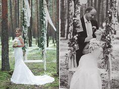 Оформление свадебной фотосессии. Фотосессия с качелью. Оригинальное оформление в лесу. фотосессия в лесу. Кристиль г.Псков