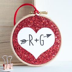 Glitter Heart Personalised Embroidery Hoop