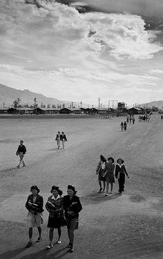 Ansel Adams: School children at Manzanar, 1943    Ansel Adams: internees on their way to school at Manzanar War Relocation Center, Owens Valley, California, 1943.