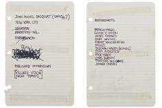 Le CV de Jean-Michel Basquiat (vendu 50.000$ !)