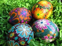 Turquoise Flowers on Black Pysanka, Ukrainian Easter egg, chicken egg shell batik painted