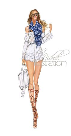 Fashion Illustration - BohoLuxe by M.Michel Illustration