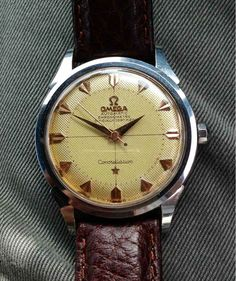 Vintage Omega Constellation With Crosshair Honeycomb Dial In Stainless Steel Circa 1950s