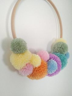 Pom Pom Wreath Wall Hanging Room Wreath Wool Wreath