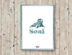 Seal baby animal printable. Blue surf by KeepMakingSmiles on Etsy