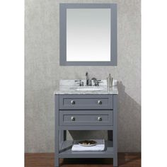 Gallery One Stufurhome Marla Gray Single Sink Vanity Set with Mirror HD G
