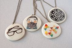 Handmade Porcelain Necklaces by Depeapa                                                                                                                                                                                 Más