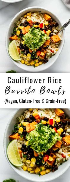 These cauliflower rice burrito bowls are healthy, vegan, gluten-free and grain-free! They're also packed with protein and topped with extra guacamole! These burrito bowls are made grain-free with cauliflower rice for a healthy and tasty dinner! Vegan Dinners, Healthy Dinner Recipes, Whole Food Recipes, Gluten Free Vegetarian Recipes, Meatless Recipes, Vegetarian Meals, Vegan Recipes With Rice, Recipes With Beans Healthy, Lunch Ideas Vegan