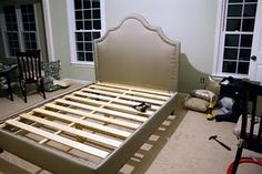 DIY Upholstered Platform Bed with Curved Fabric Headboard * View Along the Way * Living Room Upholstery, Sofa Upholstery, Upholstery Repair, Upholstery Cleaning, Upholstered Platform Bed, Upholstered Beds, Bed Platform, Furniture Projects, Home Projects