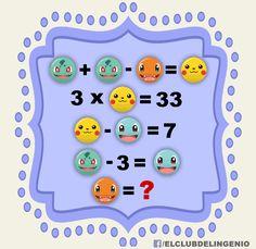 Aritmética con personajes de Pokémon. Juega y comparte con tus amigos. #gimnasiamental Math Logic Puzzles, Math Games, Pokemon, Emoji Puzzle, Logic Problems, Brain Teasers With Answers, Math Genius, Math Talk, Arithmetic