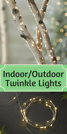 Indoor Outdoor Twinkle Lights - Tiny twinkling lights on a slender silver wire wrap trees, garlands and shrubbery with an elegant sparkle and warm glow. Beyond the holidays, versatile indoor-outdoor lights create a soft glow for seasonal dining al fresco. Battery-operated lights have an optional timer function for 6 hours on, 18 off. - Backyard lights - outdoor lighting - christmas lights - twinkle lights - fairy lights - wedding decor - wedding centerpiece - lights - sponsored