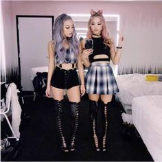 shoes thigh high boots knee high boots high heels boots skater skirt shorts suspenders crop tops - S toli - Mode Pastel Goth Fashion, Punk Fashion, Korean Fashion, Fashion Outfits, Womens Fashion, Fashion Tips, Grunge Fashion, Fashion Styles, Vintage Fashion