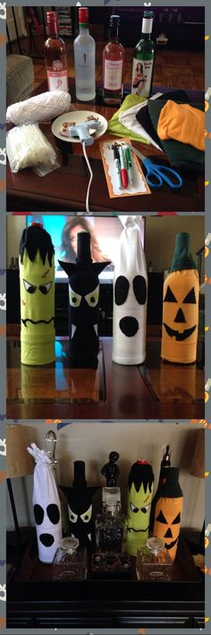 Halloween wine bottle covers