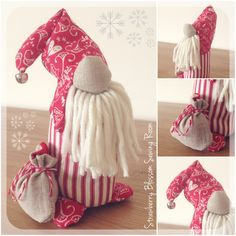 My little Christmas gnome with his sack of presents. Available from www.facebook.com/strawberryblossomsewing