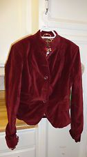 LUCKY BRAND Burgandy Velvet Jacket, Size Large, Preowned