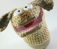 Hand Crocheted Gift for Kids for Pretend Play - Dog Puppet  by CreativePlayCrochet $20.99