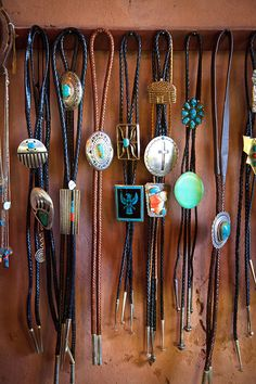 A selection of bolo ties hanging in Hubbell Trading Post, a National Historic Site on the Navajo Reservation in eastern Arizona. New Mexico, Jewelry Accessories, Jewelry Design, Cowgirl Chic, Bolo Tie, Trading Post, Arizona, Native American Jewelry, Turquoise Jewelry
