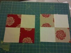 I took two blocks and decided to cut the 4 patches in half corner to corner then I used half of each block and to make a pinwheel.