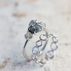 Rough Diamond Engagement Ring  14k White Gold by moiraklime, $500.00
