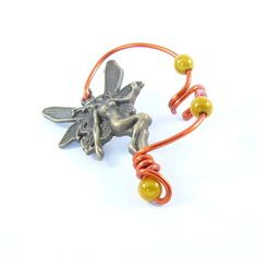 Bijou d'oreille fil aluminium fée bronze