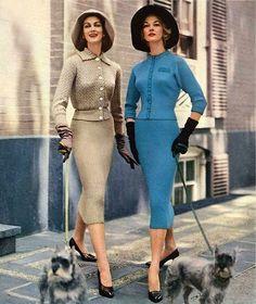 Carmen Dell'Orefice & Jean Patchett 1957 .1950's fashion . Vintage streetstyle !