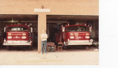 Uncle Matty standing in front of the firehall<3