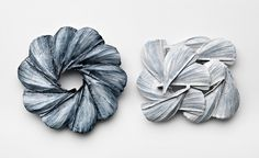 Leslie Matthews Midnight and midday and midnight, 2013 Brooches – Sterling Silver, porcelain paint