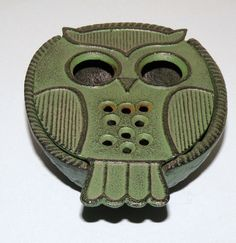 Mid Century Green CAST Iron OWL Incense Burner