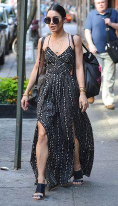 Vanessa Hudgens.. Ecote Safari Maxi Dress, Kenneth Cole Prince Bag, and the Row Sunglasses..