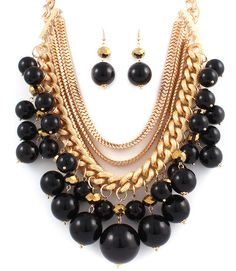 BLACK CHUNKY PEARLS AND CHAINS LAYERED STATEMENT NECKLACE EARRINGS SET - $32