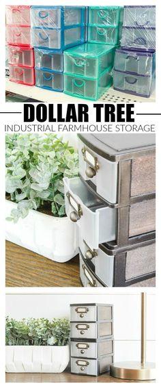 WOW, this transformation is unbelievable! Inexpensive Dollar Tree storage drawers get an impressive industrial farmhouse makeover! #dollartree #dollartreestorage #DIYHomeDecorDollarStore