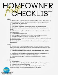 Homeowner Fall Checklist for maintenance and care of your home. Call First Maintain for all of your interior and exterior maintenance. We also have referrals for your lawn care.