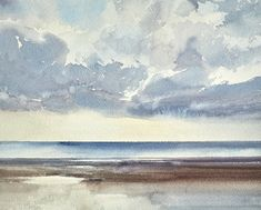 Sunset seashore, Lytham St Annes, 2021. An original painting by Timothy Gent. Celebrating the beauty of sunlight over the open seashore at Lytham St Annes in Lancashire. Available to purchase from the Timothy Gent Gallery online. #british #seascape #beach #coastal #paintings #contemporary #artcollector #gallery #gallery #artgallery #art Watercolor Paintings For Sale, Art Paintings For Sale, Original Paintings, Watercolor Ocean, Watercolor Cards, St Anne, Original Art For Sale, Cool Artwork, Art Images