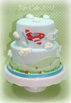sweet little cake Airplane Birthday Cakes, Boys First Birthday Cake, Airplane Cakes, Birthday Ideas, Airplane Party, Pretty Cakes, Cute Cakes, Fondant Cakes, Cupcake Cakes