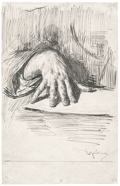 Luigi Gallina  Study of a Hand pen and brown ink