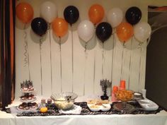 Halloween Party Decor balloons over food table
