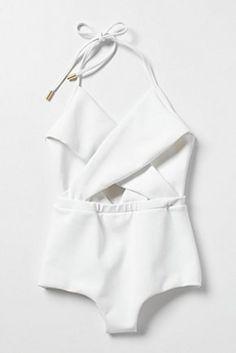 white cross-cross halter bathing suit