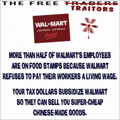 """Just ONE of the reasons Walmart is ruining our country. Watch """"Wal-mart: The High Cost of Low Prices"""" to learn more."""