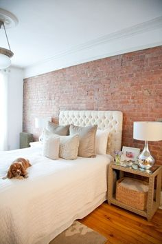 If you don't have a brick wall in your home, you can always faux paint it! It's easy.