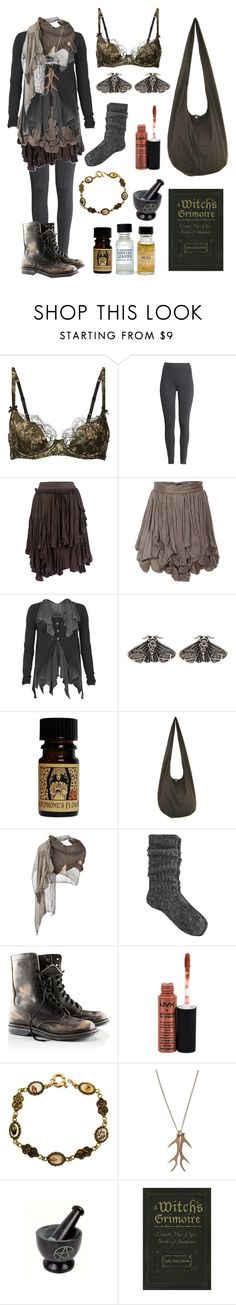 """""""Dark Mori - Forest Cottage Witch"""" by bloodmoonsuccubus ❤ liked on Polyvore featuring Agent Provocateur, H&M, Cooper by Trelise, Sophia Kokosalaki, AllSaints, Mimco, Cutuli Cult, River Island, Portland General Store and NYX"""