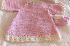 crochet baby dress and booties, crocheted dress, merino wool dress, dress and shoes, baby outfit, by Hildescrochetshop on Etsy