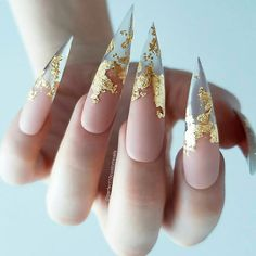 Stunning Gold Foil Nail Designs to Make Your Manicure Shine ★ See more: glamin. - Nail Design Ideas, Gallery of Best Nail Designs Nail Swag, Gorgeous Nails, Pretty Nails, Foil Nail Designs, Clear Nail Designs, Nagellack Design, Nagel Blog, Stiletto Nail Art, Stiletto Nail Designs