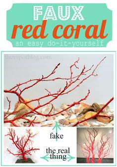 Ocean party: The V Spot: Faux Red Coral made from sticks spray paint. Under The Sea Theme, Under The Sea Party, Ocean Themes, Beach Themes, Beach Ideas, Ocean Party, Beach Crafts, Seashell Crafts, Seashell Projects