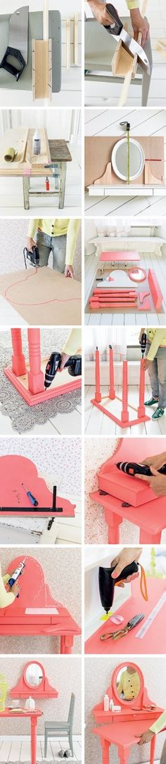 coiffeuse Heart Handmade UK: Dressing Table on Wheels DIY From 101 Woonideeen Magazine