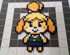 Isabelle - Animal Crossing perler beads by DogerCraft on DeviantArt Perler Bead Designs, Perler Bead Templates, Diy Perler Beads, Pearler Bead Patterns, Perler Bead Art, Perler Patterns, Pearler Beads, Kandi Patterns, Animal Crossing