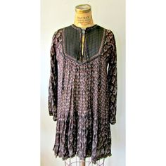 70s Boho Tunic / Vintage floral Dress / Black by EstherWooVintage, $32.00