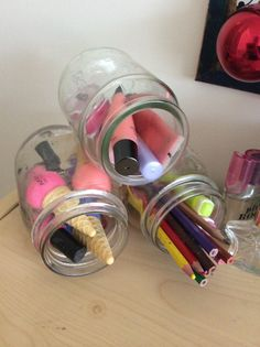 Really easy bedroom storage for all your little things. Just hot glue on jar to another the. One on top.